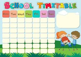 School tijdschema sjabloon met buiten thema