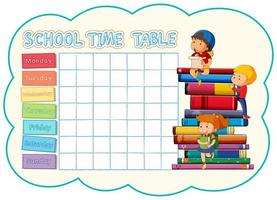 School timetable template with children on stack of books