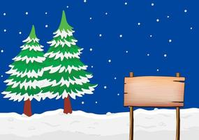 An empty signboard in snow with pine trees vector