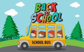 Volta para o modelo de escola com ônibus escolar vetor