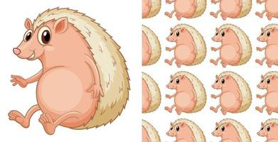 Seamless and isolated hedgehog pattern cartoon