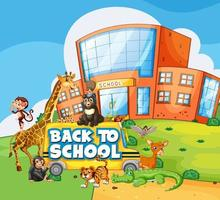 Back to school template with school, bus and animals