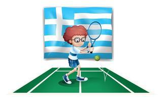 Greklands flagga och tennisspelaren