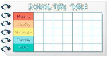 Plantilla de horario escolar con tema de cuaderno vector
