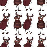 Caricature de modèle sans couture avec les coléoptères vecteur
