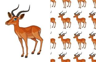 Seamless and isolated gazelle pattern