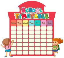 School timetable template with children