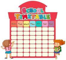Plantilla de horario escolar con niños vector