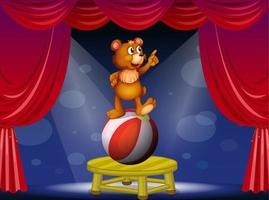 Ein Bär, der auf Ball an der Zirkusshow steht