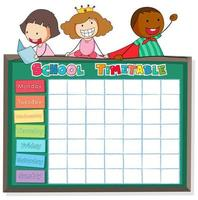 School timetable template with boys and girls on chalkboard vector