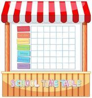 School tijdschema sjabloon met hut thema
