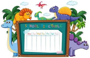 School time table taped on chalkboard surrounded by dinosaurs