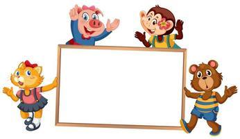 Chat, cochon, singe et ours tenant une pancarte blanche
