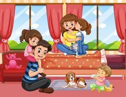 Familie in woonkamer scène