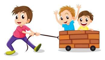 Tre pojkar som spelar i trävagn