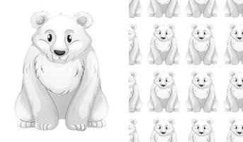 Seamless and isolated polar bear pattern vector