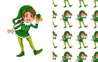 Seamless pattern of elf holding gift vector