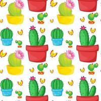 Sömlös mönsterplattatecknad film med kaktusar och fjärilar vektor