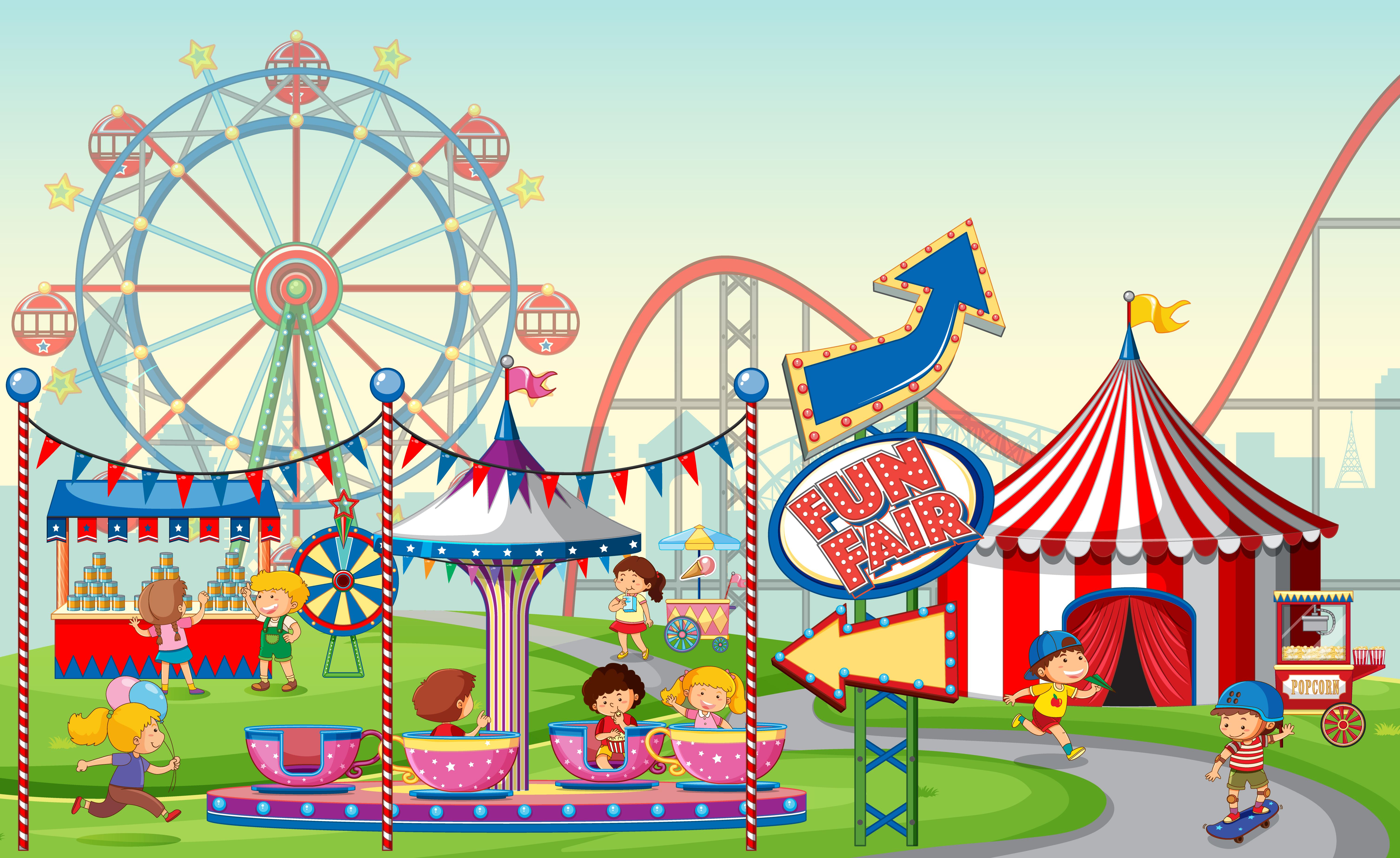 An Outdoor Fun Fair Scene With Kids