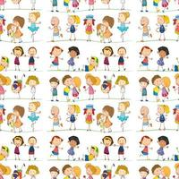 Seamless pattern tile cartoon with doodle kids vector