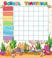 Modèle de calendrier scolaire avec thème sous-marin