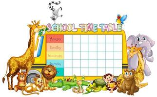 School timetable template with bus and animals
