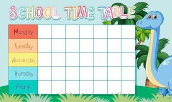 School time table with dinosaur vector