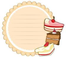 Round stationery paper with cakes vector