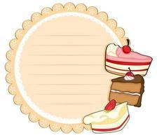 Rond briefpapier met cakes vector