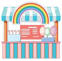 Food vendor with cotton candy and rainbow vector