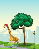 Girafe sur patins à roulettes dans une scène de parc