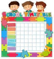 School tijdschema sjabloon met kinderen en puzzel stuk rand