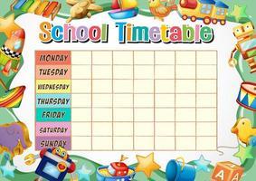 School tijdschema sjabloon met speelgoed thema