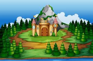 Castelo na cena da floresta