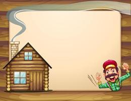 An empty wooden frame with a lumberjack shouting and a house