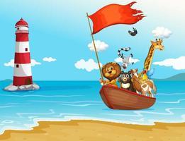 Djur som seglar i båt