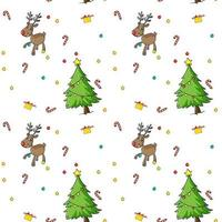 Seamless christmas pattern with trees and reindeer