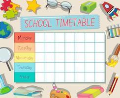 Modello di orario scolastico con tema di materiale scolastico