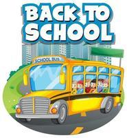 Terug naar school sjabloon met schoolbus in de stad