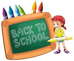 Back to school template with girl and crayons