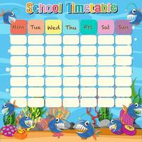 School timetable template with ocean and fish vector