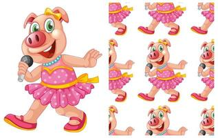 Modèle de chant cochon sans couture et isolé