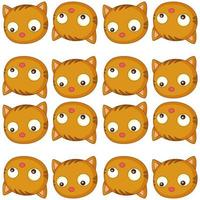 Seamless pattern tile cartoon with cat face