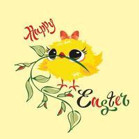 Gelukkig Pasen. Kuiken. Vakantiekaart. Vector illustratie
