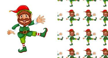 Seamless pattern with male elf vector