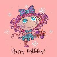 Feliz cumpleaños. Tarjeta de felicitación con una niña vector