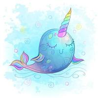 Cute unicorn whale. Watercolor. Vector illustration