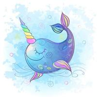 Cute fabulous unicorn whale. Watercolor. Vector illustration