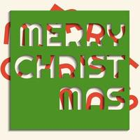 Merry christmas wording in paper cut style