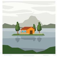 Uma pequena ilha sobre o lago